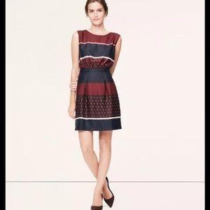 LOFT navy and wine striped dress size 6